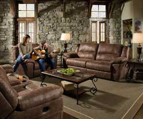 Simmons Upholstery 50111-BR Phoenix Double Motion Loveseat With Console