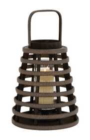 Uma Enterprises Inc. 76159 Wood and Glass Candle Lantern 11X19