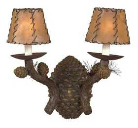 Vintage Verandah CWDL1774 Pinecone Double Wall Lamp 3 x 5 x 4 Painted Rawhide