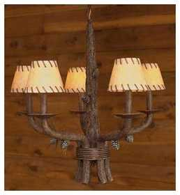Vintage Verandah CH40608F Pinecone Chandelier 3 x 5 x 4 Leather W/Leather Trim
