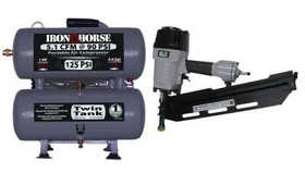 Wood Industries IHTS104L-NK Twin Stack Compressor With Framing Nailer