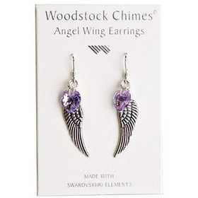 Woodstock Percussion CWVI Violet Angel Wing Earrings