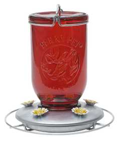 Perky Pet 786 Red Mason Jar Glass Hummingbird Feeder