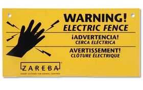 Zareba WS-3 Electric Fence Warning Signs 3pk