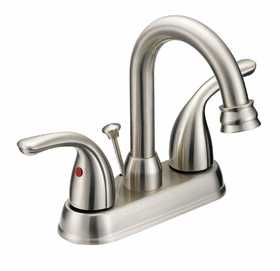 Flo Control Faucets F5111080NP 2 Handle Brushed Nickel Hi Arc Lavatory Faucet