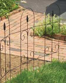 Panacea 89373 Folding Fence With Finial Black 32 in x8 ft
