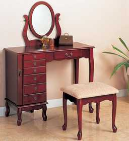 Coaster 300073 Traditional Vanity And Stool With Fabric Seat