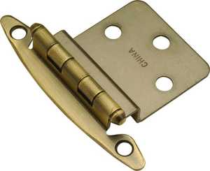 Hickory Hardware P140-AB 3/8-Inch Antique Brass Semi-Concealed Inset Hinge 2-Pack
