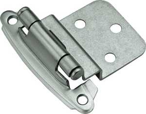 Hickory Hardware P243-SN 3/8-Inch Satin Nickel Surface Self-Closing Inset Hinge 2-Pack