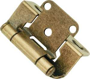 Hickory Hardware P2710F-AB 1/2-Inch Overlay Antique Brass Self-Closing Cabinet Hinge