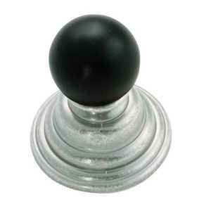 Hickory Hardware P3411-BNVB 1-1/4-Inch Black Nickel Vibed With Black Gaslight Cabinet Knob