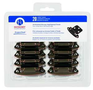 Hickory Hardware VP244-OBH Oil-Rubbed Bronze Highlight Surface Self-Closing Flush Hinge 20-Pack