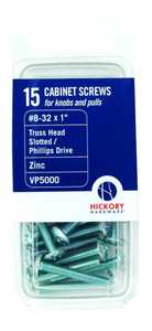 Hickory Hardware VP5000 #8-32 x 1-Inch Screws 15-Pack