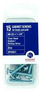 Hickory Hardware VP5001 #8-32 x 1-1/4-Inch Screws 15-Pack
