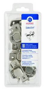Hickory Hardware VP5124-14 2-Piece Bright Nickel Concealed Face Frame With 1/2-Inch Overlay 10-Pack