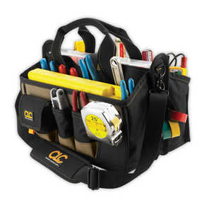 Custom Leathercraft 1529 15-Pocket 16-Inch Tool Bag With Center Tray