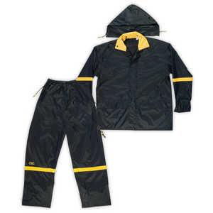 Custom Leathercraft R103L Rain Suit 3pc Nylon Black L