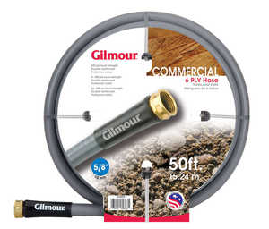 Gilmour 29-58050 Commercial Outdoor Hose 5/8x50 ft 6ply Rubber/Vinyl