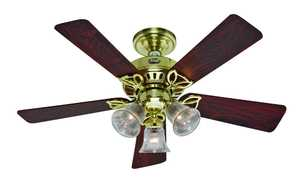 Hunter Fan Company 20434 42-Inch 5-Blade Bright Brass Beacon Hill Ceiling Fan With Lights