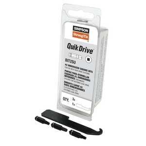 Simpson Strong-Tie BIT2SU-RC3 Quik Drive #2u Undersized Square Drive Bit 3-Pack