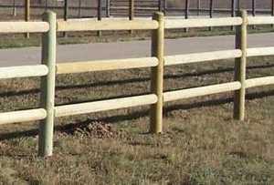 Sutherland Lumber 6-1/2 ft 3 RAIL 3 Hole Treated Dowel End Post