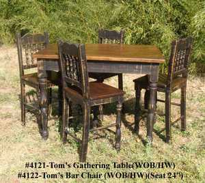 Rustic Pine Furniture 4121S Toms Rustic Pine Gathering Table With 4 Chairs