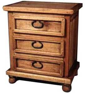 Rustic Pine Furniture 413 Bedside Table 3 Drawer