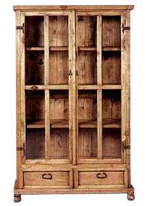 Rustic Pine Furniture 704 2 Drawer Cabinet With Glass