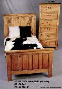 Rustic Pine Furniture 1567 Full Bed Frame With Rails