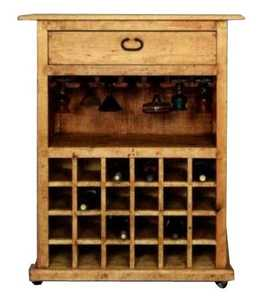 Rustic Pine Furniture 2300 Wood Wine Bar On Casters