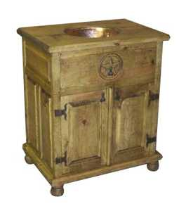 Rustic Pine Furniture 1192 Wood Cabinet With Copper Wash Basin