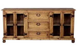 Rustic Pine Furniture 2303 Buffet With Glass Doors