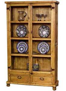Rustic Pine Furniture 2547 Glass Door Hutch With Plate Holder