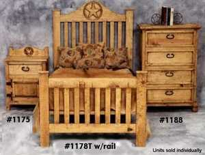 Rustic Pine Furniture 1178-Q Queen Star Bed Frame With Rails