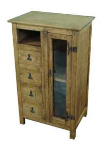 Rustic Pine Furniture 3881 Multi-Purpose Cabinet With Glass Doors