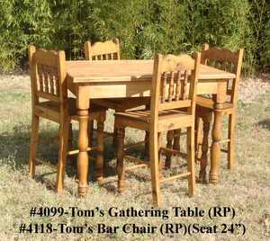 Rustic Pine Furniture 4099S Toms Rustic Pine Gathering Table W/4 Chairs