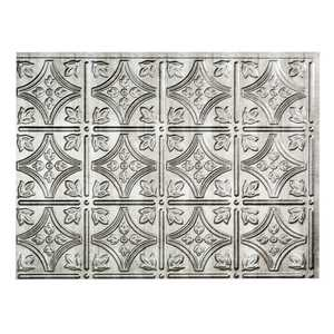 Acoustic Ceiling Products D60-21 Fasade 18 in X 24 in Traditional 1 Backsplash Panel In Crosshatch Silver