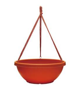 Southern Patio HB1412TC Dynamic Design 14 in Rolled Rim Hanging Bowl With Macrame' Hanger Terra Cotta