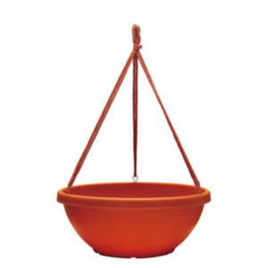 Southern Patio HB1412TC 14-Inch Terra Cotta Rolled Rim Hanging Bowl Planter