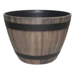 Southern Patio HDR-007227 15-Inch Kentucky Walnut Wine Barrel Planter