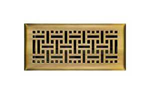 Accord Ventilation AMFRABB410 Floor Register 4x10 Antique Brass Wicker