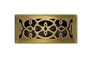 Accord Ventilation AMFRABV410 Victorian Floor Register 4x10 Antique Brass