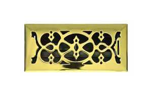 Accord Ventilation AMFRPBV410 Victorian Floor Register 4x10 Polished Brass