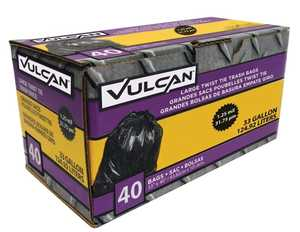Vulcan FG-03812-11 33-Gallon Heavy Duty Black Trash Bags 40-Pack