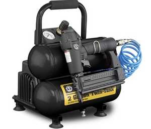 Steele CE-042T 2-Gallon 1/3-Hp Twin Portable Air Compressor And Nailer Kit