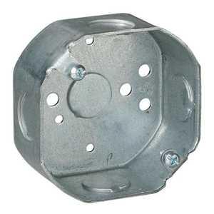 Thomas & Betts 241511/2-25 3-1/2 in Galvanized Steel Octagon Box, 1 1/2 in Deep, 118 Cu In