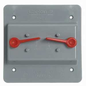 Thomas & Betts E9G2SSN 2-Gang Weatherproof Vertical Mount 2-Toggle Switch Box Cover - Gray
