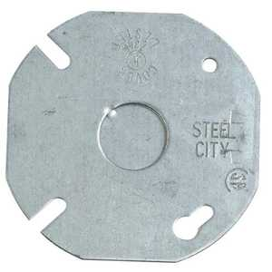 Thomas & Betts 24 C 6 3 1/2 in Galvanized Steel Box Cover, Flat With 1/2 in Knockout