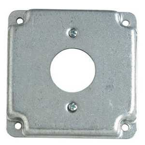 Thomas & Betts RS11-30 4 in Galvanized Steel Square Box Surface Cover, 1/2 in Deep, 5 Cu In