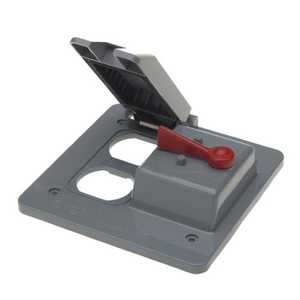 Thomas & Betts E9G2DSN-CAR 2-Gang Weatherproof Vertical Mount Duplex/Toggle Switch Box Cover - Gray
